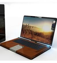 laptop cu carcasa de lemn